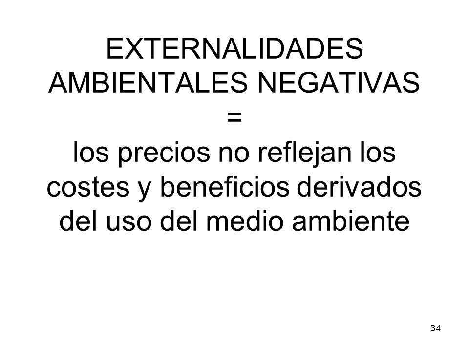 34 EXTERNALIDADES AMBIENTALES NEGATIVAS = los precios no reflejan los costes y beneficios derivados del uso del medio ambiente