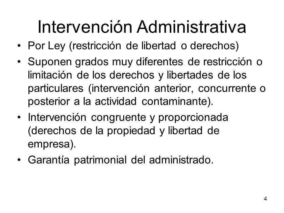 4 Intervención Administrativa Por Ley (restricción de libertad o derechos) Suponen grados muy diferentes de restricción o limitación de los derechos y
