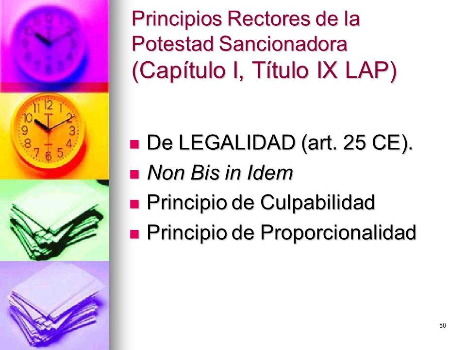 50 Principios Rectores de la Potestad Sancionadora (Capítulo I, Título IX LAP) De LEGALIDAD (art. 25 CE). De LEGALIDAD (art. 25 CE). Non Bis in Idem N
