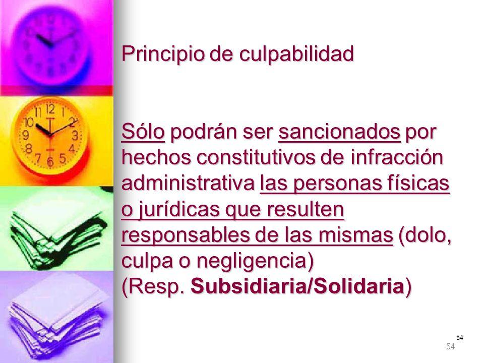 54 Principio de culpabilidad Sólo podrán ser sancionados por hechos constitutivos de infracción administrativa las personas físicas o jurídicas que re