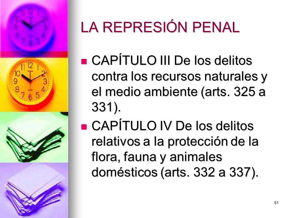 61 LA REPRESIÓN PENAL CAPÍTULO III De los delitos contra los recursos naturales y el medio ambiente (arts. 325 a 331). CAPÍTULO III De los delitos con