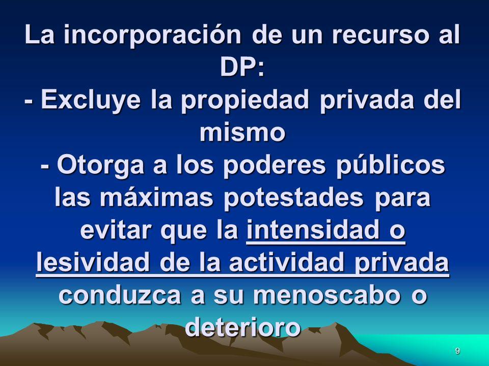 9 La incorporación de un recurso al DP: - Excluye la propiedad privada del mismo - Otorga a los poderes públicos las máximas potestades para evitar qu