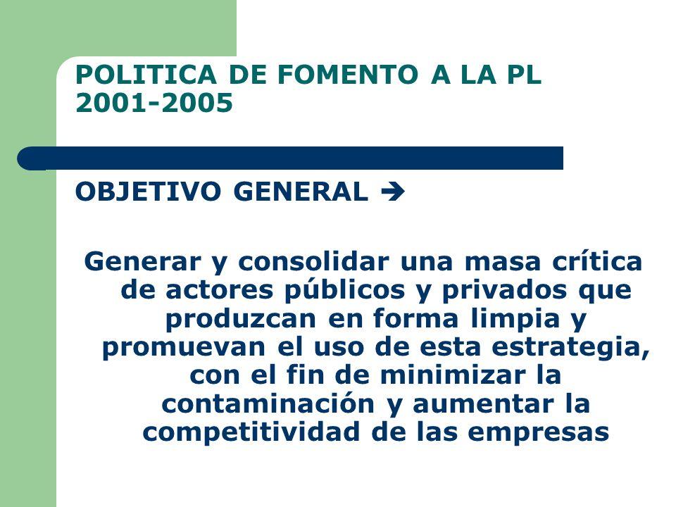 POLITICA DE FOMENTO A LA PL 2001-2005 OBJETIVO GENERAL Generar y consolidar una masa crítica de actores públicos y privados que produzcan en forma limpia y promuevan el uso de esta estrategia, con el fin de minimizar la contaminación y aumentar la competitividad de las empresas