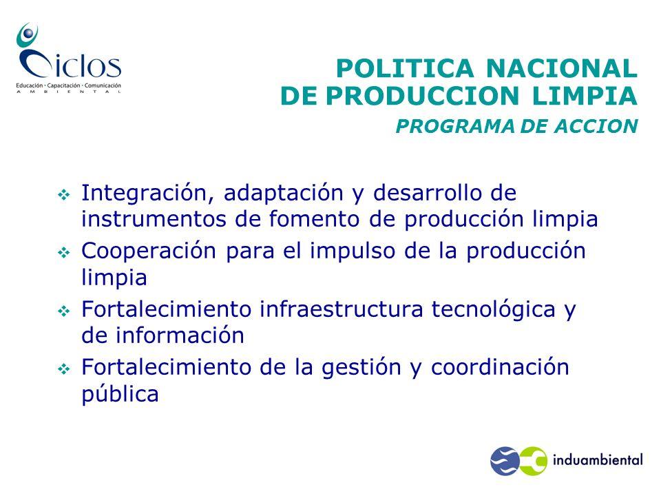 POLITICA NACIONAL DE PRODUCCION LIMPIA PROGRAMA DE ACCION Integración, adaptación y desarrollo de instrumentos de fomento de producción limpia Coopera