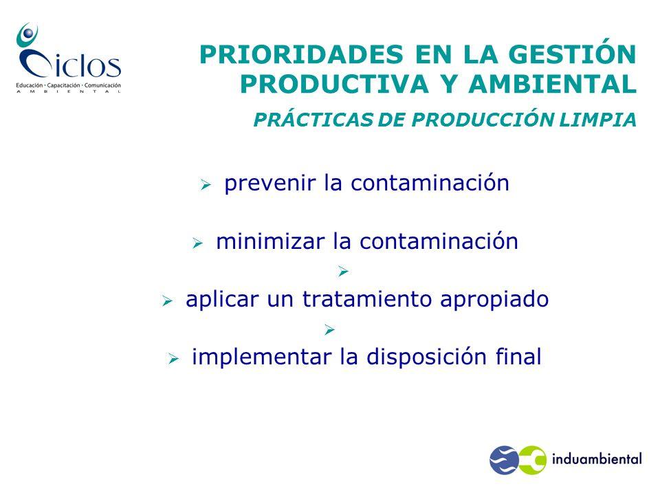 PRIORIDADES EN LA GESTIÓN PRODUCTIVA Y AMBIENTAL PRÁCTICAS DE PRODUCCIÓN LIMPIA prevenir la contaminación minimizar la contaminación aplicar un tratam