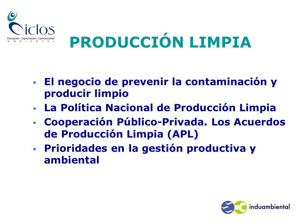 El negocio de prevenir la contaminación y producir limpio La Política Nacional de Producción Limpia Cooperación Público-Privada. Los Acuerdos de Produ