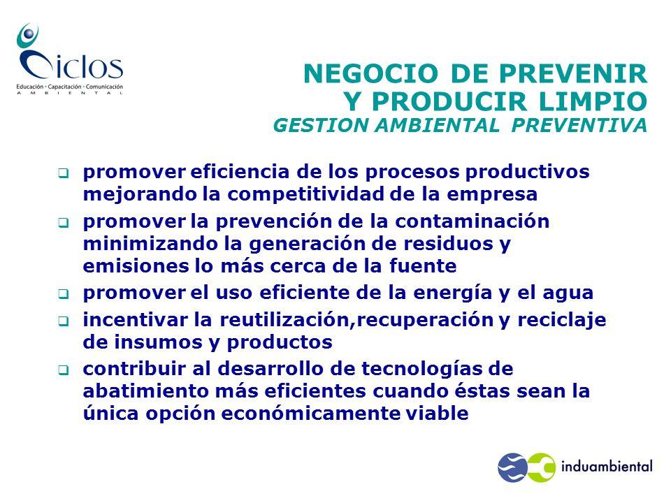 NEGOCIO DE PREVENIR Y PRODUCIR LIMPIO GESTION AMBIENTAL PREVENTIVA promover eficiencia de los procesos productivos mejorando la competitividad de la e