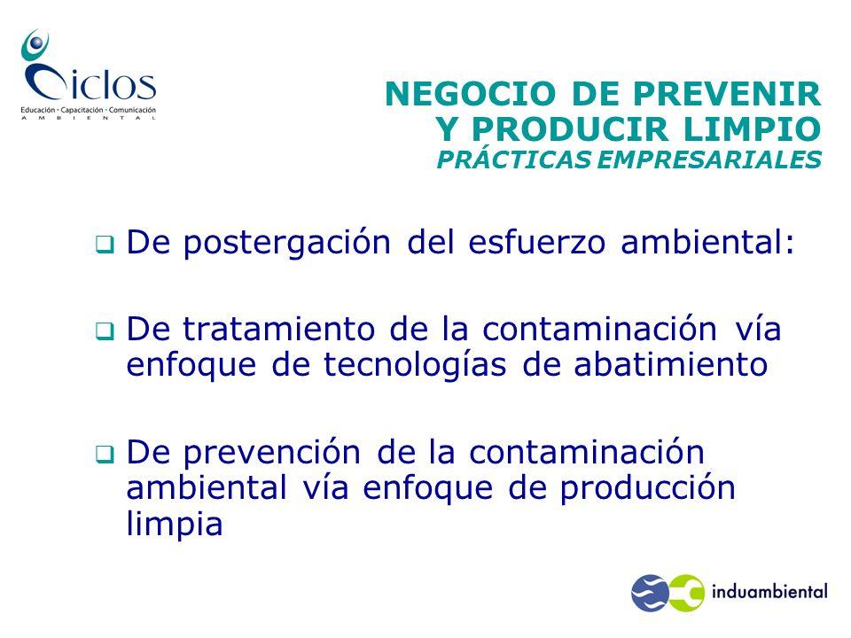 NEGOCIO DE PREVENIR Y PRODUCIR LIMPIO PRÁCTICAS EMPRESARIALES De postergación del esfuerzo ambiental: De tratamiento de la contaminación vía enfoque d