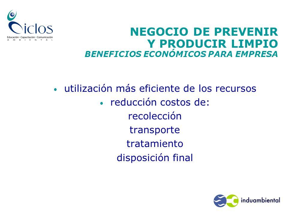 NEGOCIO DE PREVENIR Y PRODUCIR LIMPIO BENEFICIOS ECONÓMICOS PARA EMPRESA utilización más eficiente de los recursos reducción costos de: recolección tr