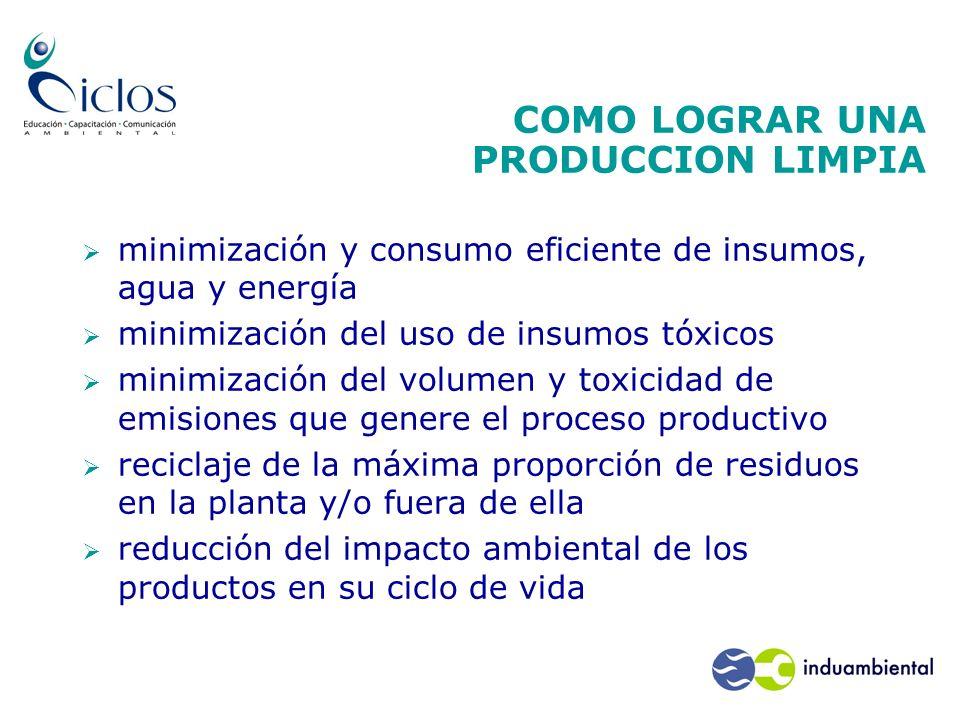 COMO LOGRAR UNA PRODUCCION LIMPIA minimización y consumo eficiente de insumos, agua y energía minimización del uso de insumos tóxicos minimización del