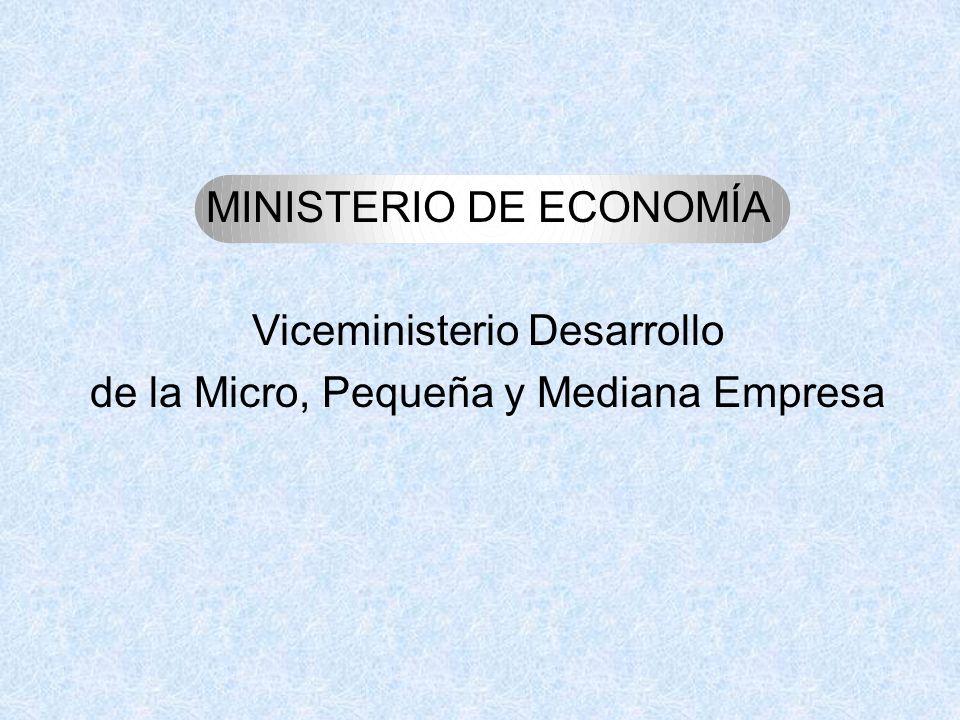MINISTERIO DE ECONOMÍA Viceministerio Desarrollo de la Micro, Pequeña y Mediana Empresa