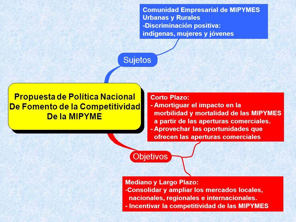 Propuesta de Política Nacional De Fomento de la Competitividad De la MIPYME Sistema de Información Sectorial y de Monitoreo y Evaluación de Impacto Institucionalidad INADE Banca de Segundo Piso Propuesta de Política Nacional De Fomento de la Competitividad De la MIPYME Unidad de Supervisión de Microfinanzas en la Superintendencia de Bancos