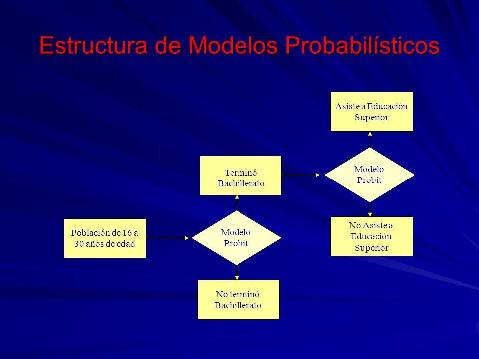 Estructura de Modelos Probabilísticos No terminó Bachillerato Modelo Probit Población de 16 a 30 años de edad No Asiste a Educación Superior Asiste a
