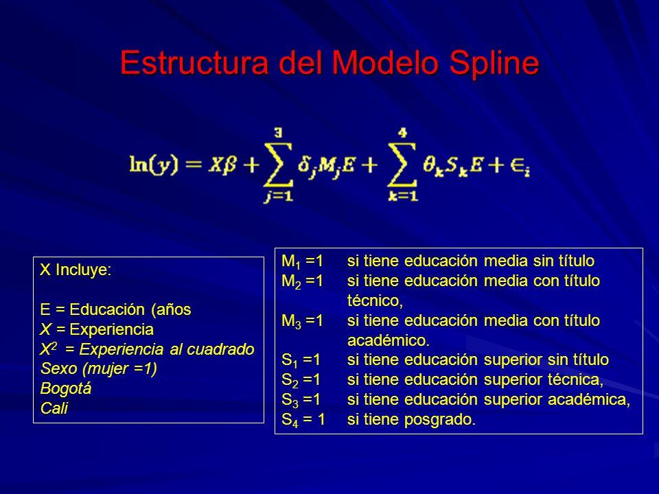 Estructura del Modelo Spline X Incluye: E = Educación (años X = Experiencia X 2 = Experiencia al cuadrado Sexo (mujer =1) Bogotá Cali M 1 =1 si tiene