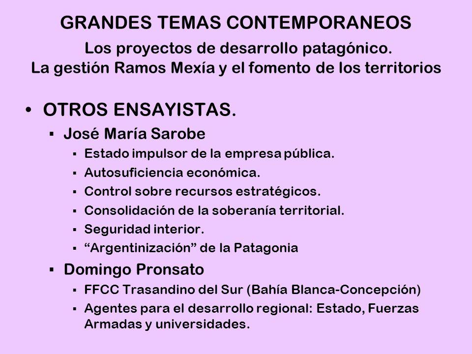 OTROS ENSAYISTAS. José María Sarobe Estado impulsor de la empresa pública. Autosuficiencia económica. Control sobre recursos estratégicos. Consolidaci