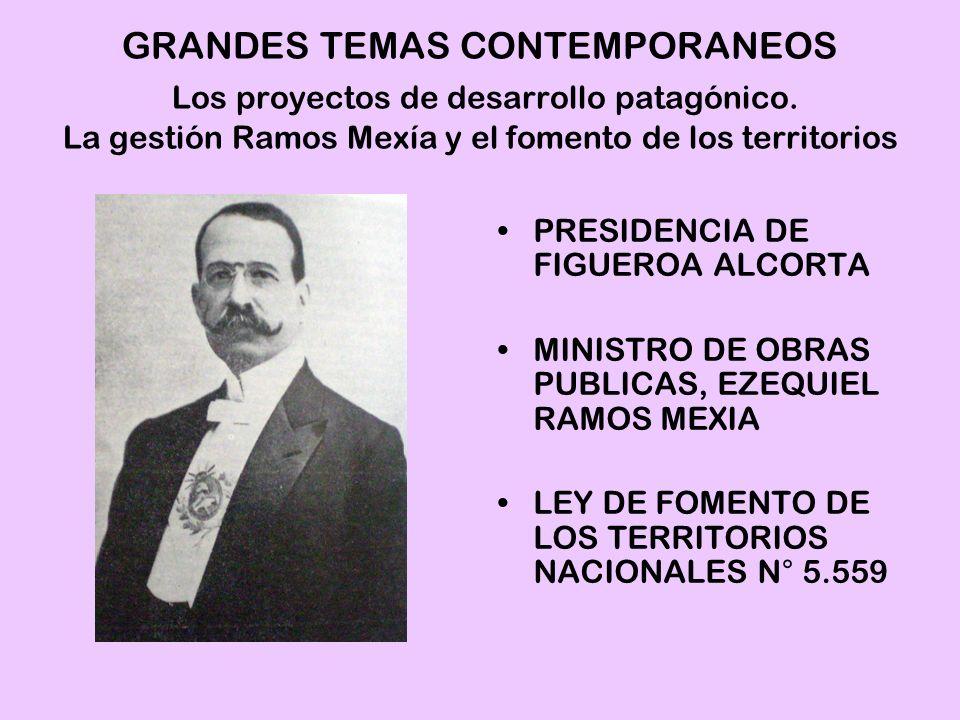 PRESIDENCIA DE FIGUEROA ALCORTA MINISTRO DE OBRAS PUBLICAS, EZEQUIEL RAMOS MEXIA LEY DE FOMENTO DE LOS TERRITORIOS NACIONALES N° 5.559 GRANDES TEMAS C