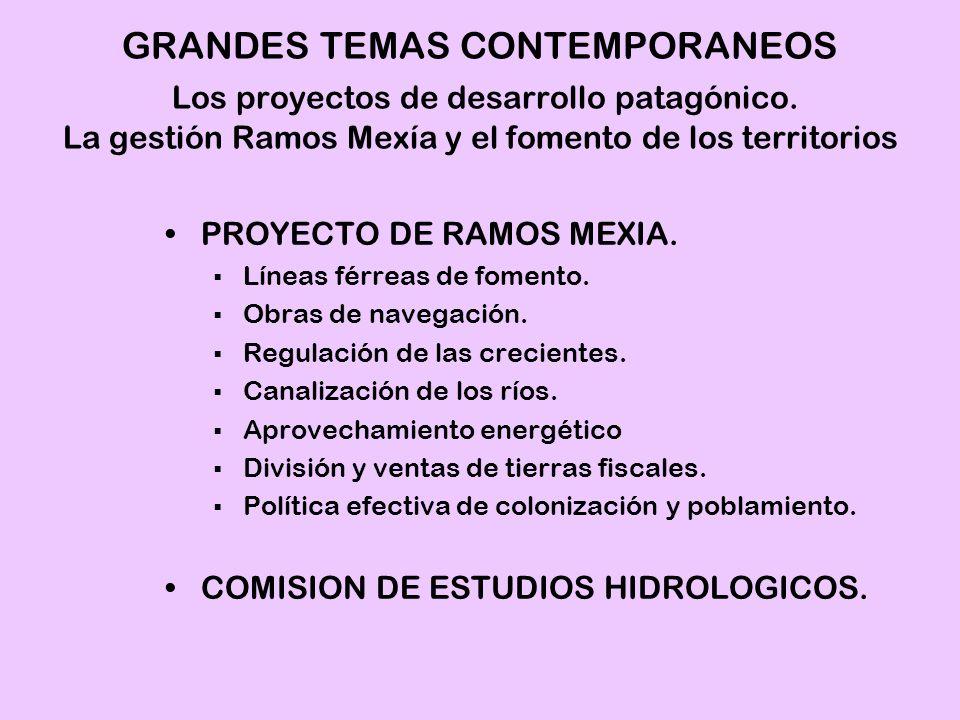 PROYECTO DE RAMOS MEXIA. Líneas férreas de fomento. Obras de navegación. Regulación de las crecientes. Canalización de los ríos. Aprovechamiento energ