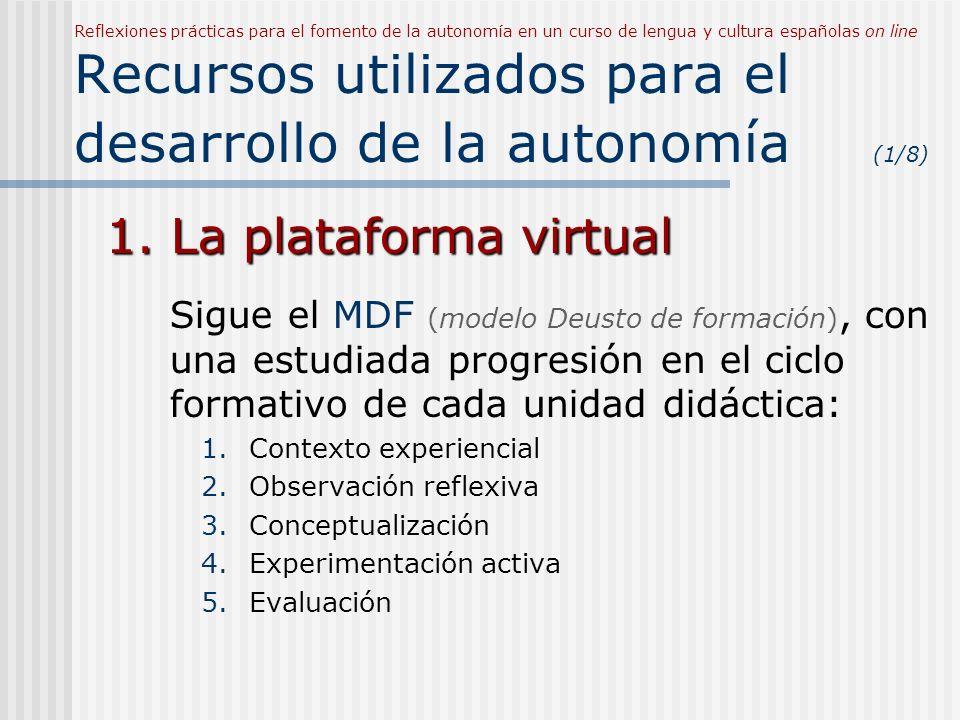 Reflexiones prácticas para el fomento de la autonomía en un curso de lengua y cultura españolas on line Recursos utilizados para el desarrollo de la autonomía (1/8) 1.