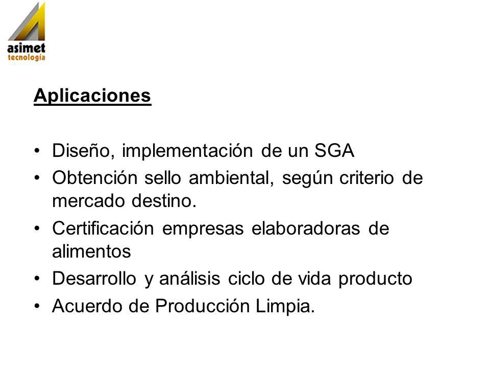 Aplicaciones Diseño, implementación de un SGA Obtención sello ambiental, según criterio de mercado destino. Certificación empresas elaboradoras de ali