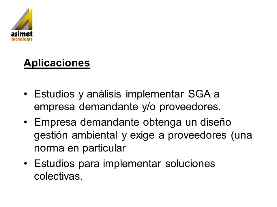 Aplicaciones Estudios y análisis implementar SGA a empresa demandante y/o proveedores. Empresa demandante obtenga un diseño gestión ambiental y exige