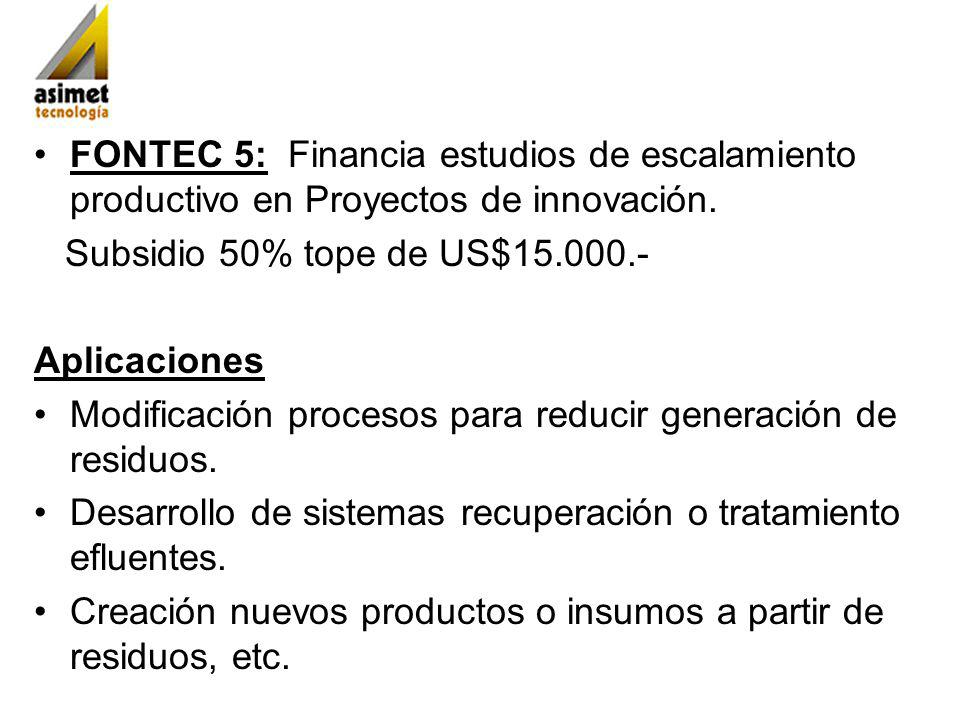 FONTEC 5: Financia estudios de escalamiento productivo en Proyectos de innovación. Subsidio 50% tope de US$15.000.- Aplicaciones Modificación procesos