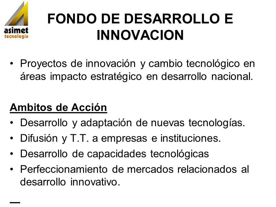 FONDO DE DESARROLLO E INNOVACION Proyectos de innovación y cambio tecnológico en áreas impacto estratégico en desarrollo nacional. Ambitos de Acción D