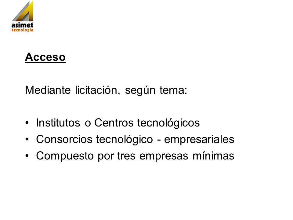 Acceso Mediante licitación, según tema: Institutos o Centros tecnológicos Consorcios tecnológico - empresariales Compuesto por tres empresas mínimas