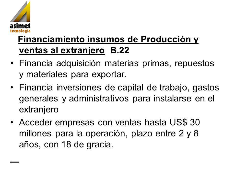 Financiamiento insumos de Producción y ventas al extranjero B.22 Financia adquisición materias primas, repuestos y materiales para exportar.