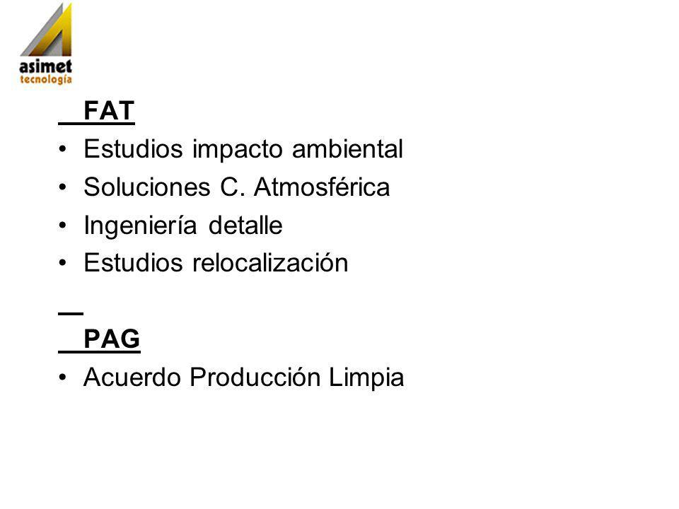 FAT Estudios impacto ambiental Soluciones C. Atmosférica Ingeniería detalle Estudios relocalización PAG Acuerdo Producción Limpia