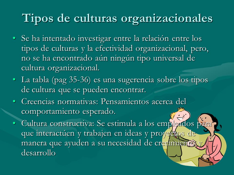 Tipos de culturas organizacionales Se ha intentado investigar entre la relación entre los tipos de culturas y la efectividad organizacional, pero, no