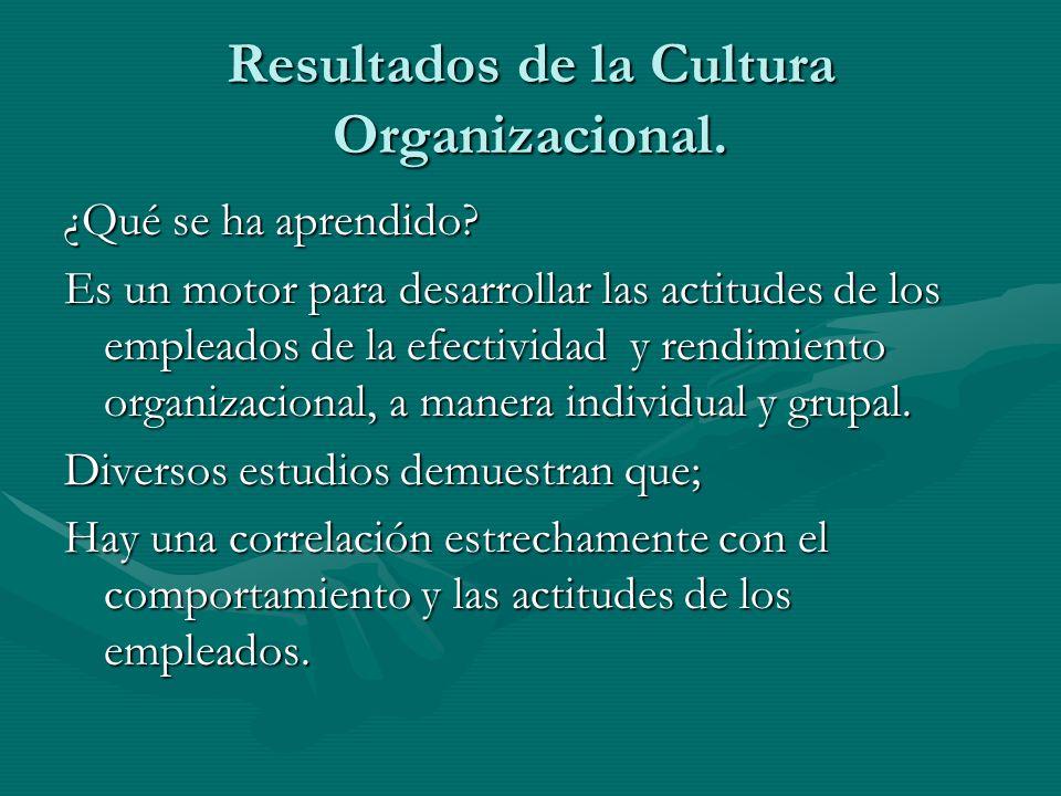 Resultados de la Cultura Organizacional. ¿Qué se ha aprendido? Es un motor para desarrollar las actitudes de los empleados de la efectividad y rendimi