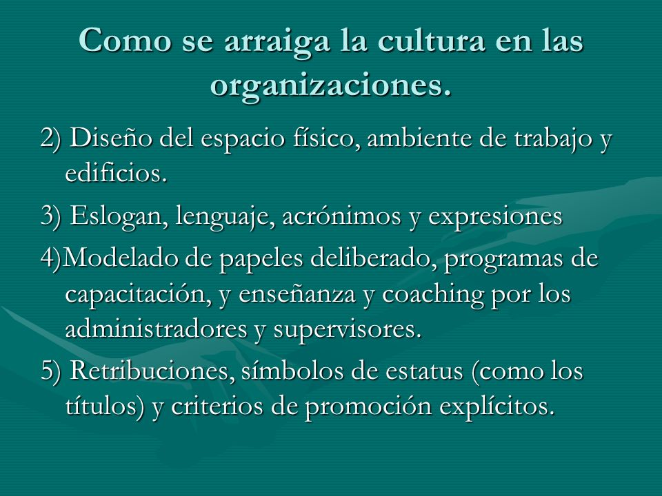 Como se arraiga la cultura en las organizaciones. 2) Diseño del espacio físico, ambiente de trabajo y edificios. 3) Eslogan, lenguaje, acrónimos y exp