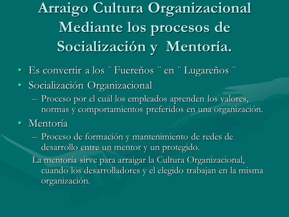 Arraigo Cultura Organizacional Mediante los procesos de Socialización y Mentoría. Es convertir a los ¨ Fuereños ¨ en ¨ Lugareños ¨Es convertir a los ¨