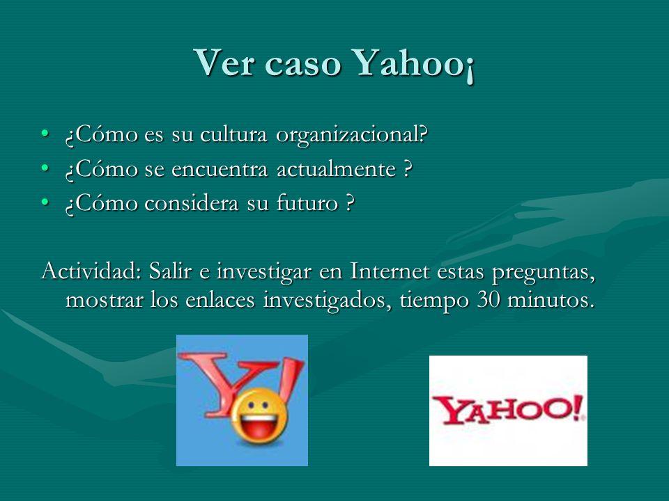 Ver caso Yahoo¡ ¿Cómo es su cultura organizacional?¿Cómo es su cultura organizacional? ¿Cómo se encuentra actualmente ?¿Cómo se encuentra actualmente