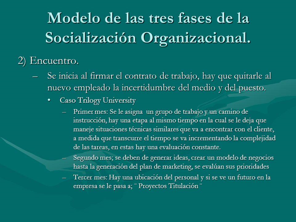 Modelo de las tres fases de la Socialización Organizacional. 2) Encuentro. –Se inicia al firmar el contrato de trabajo, hay que quitarle al nuevo empl