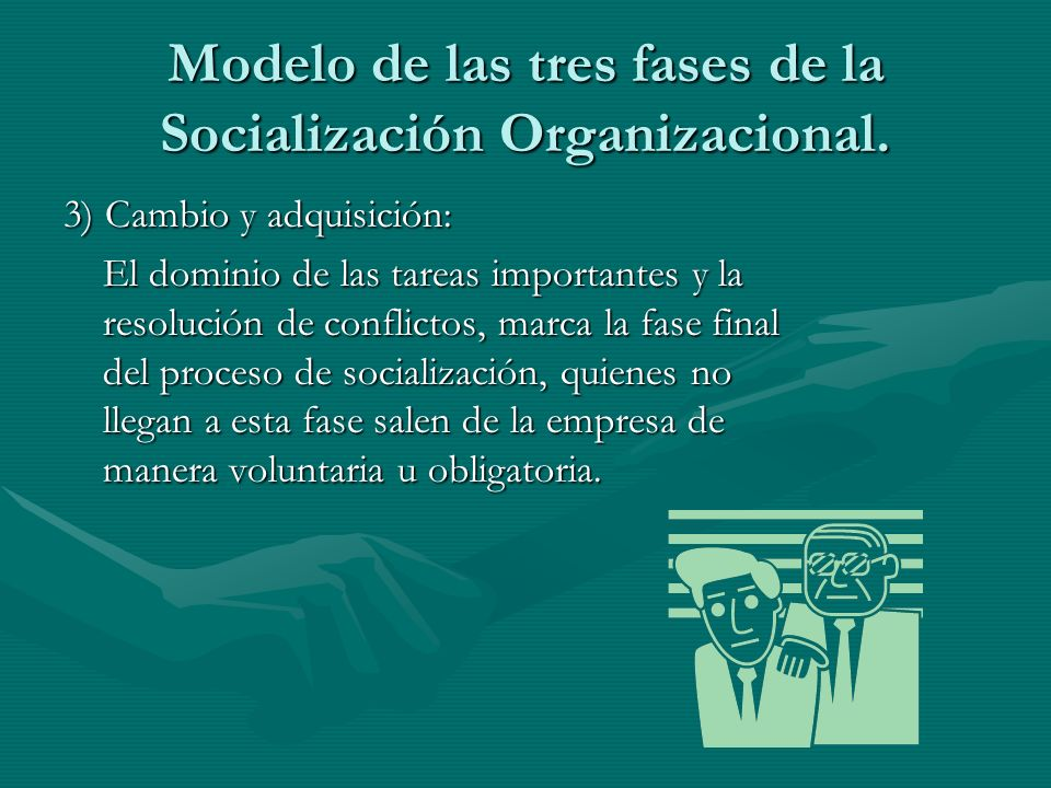 Modelo de las tres fases de la Socialización Organizacional. 3) Cambio y adquisición: El dominio de las tareas importantes y la resolución de conflict