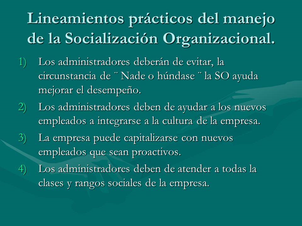 Lineamientos prácticos del manejo de la Socialización Organizacional. 1)Los administradores deberán de evitar, la circunstancia de ¨ Nade o húndase ¨