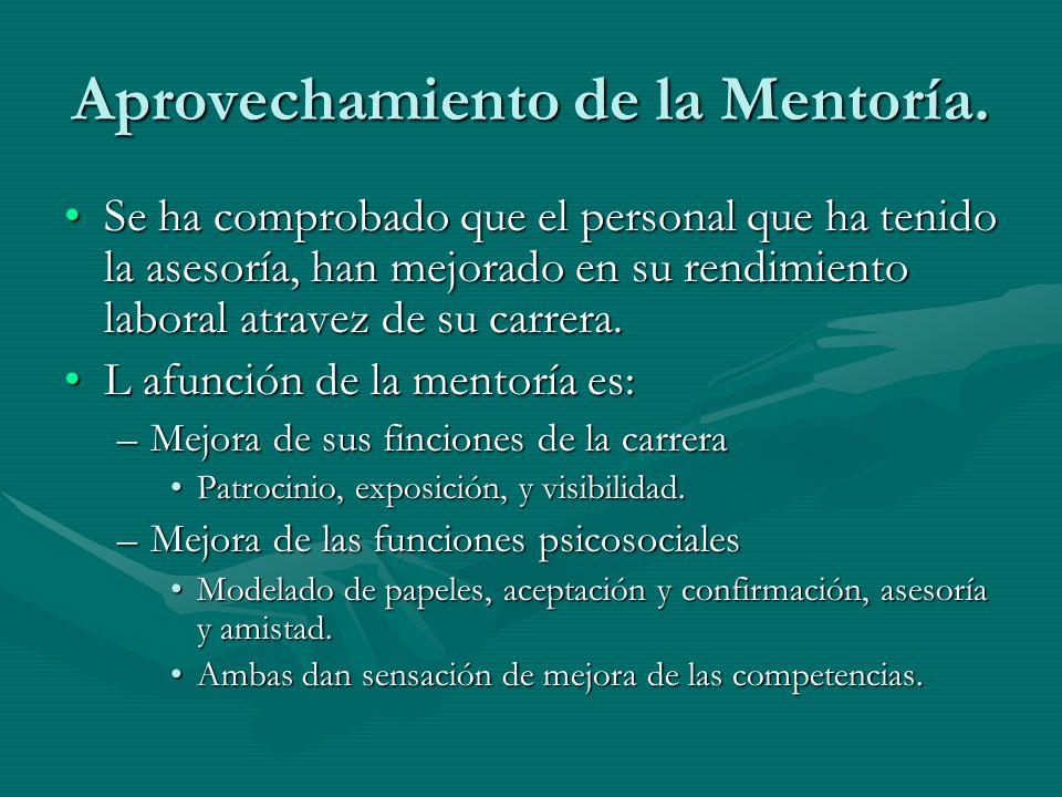 Aprovechamiento de la Mentoría. Se ha comprobado que el personal que ha tenido la asesoría, han mejorado en su rendimiento laboral atravez de su carre