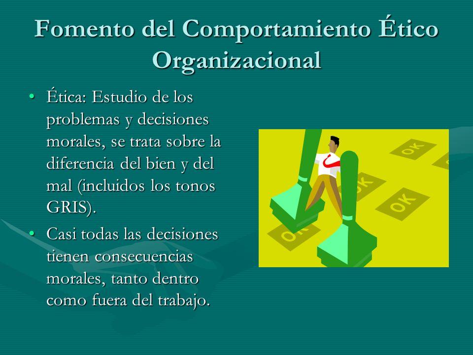 Fomento del Comportamiento Ético Organizacional Ética: Estudio de los problemas y decisiones morales, se trata sobre la diferencia del bien y del mal