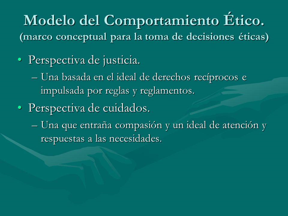 Modelo del Comportamiento Ético. (marco conceptual para la toma de decisiones éticas) Perspectiva de justicia.Perspectiva de justicia. –Una basada en