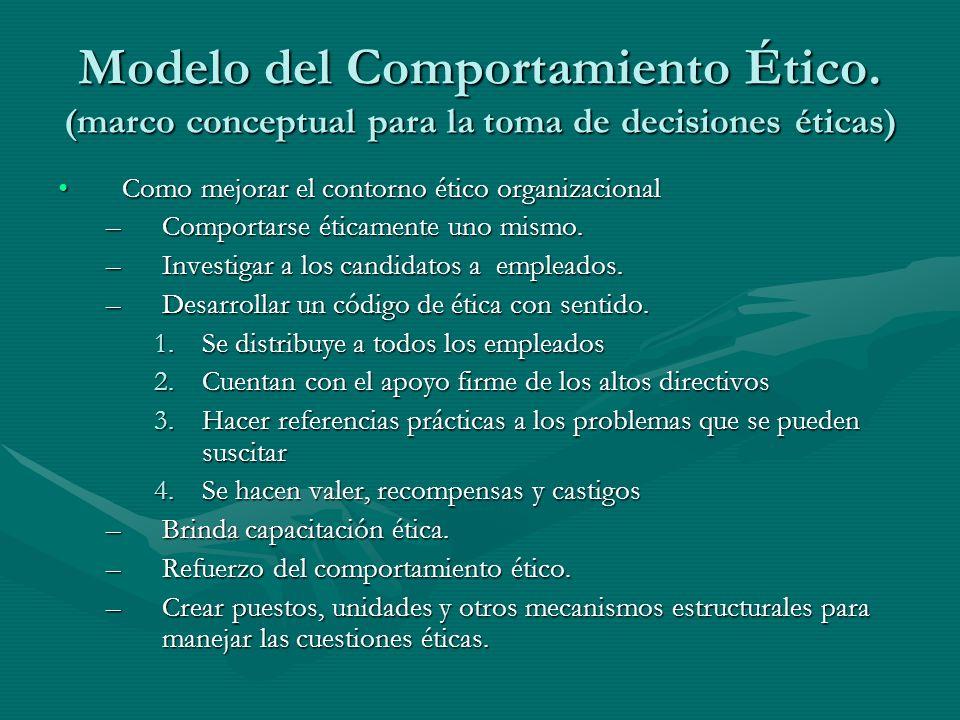 Modelo del Comportamiento Ético. (marco conceptual para la toma de decisiones éticas) Como mejorar el contorno ético organizacionalComo mejorar el con