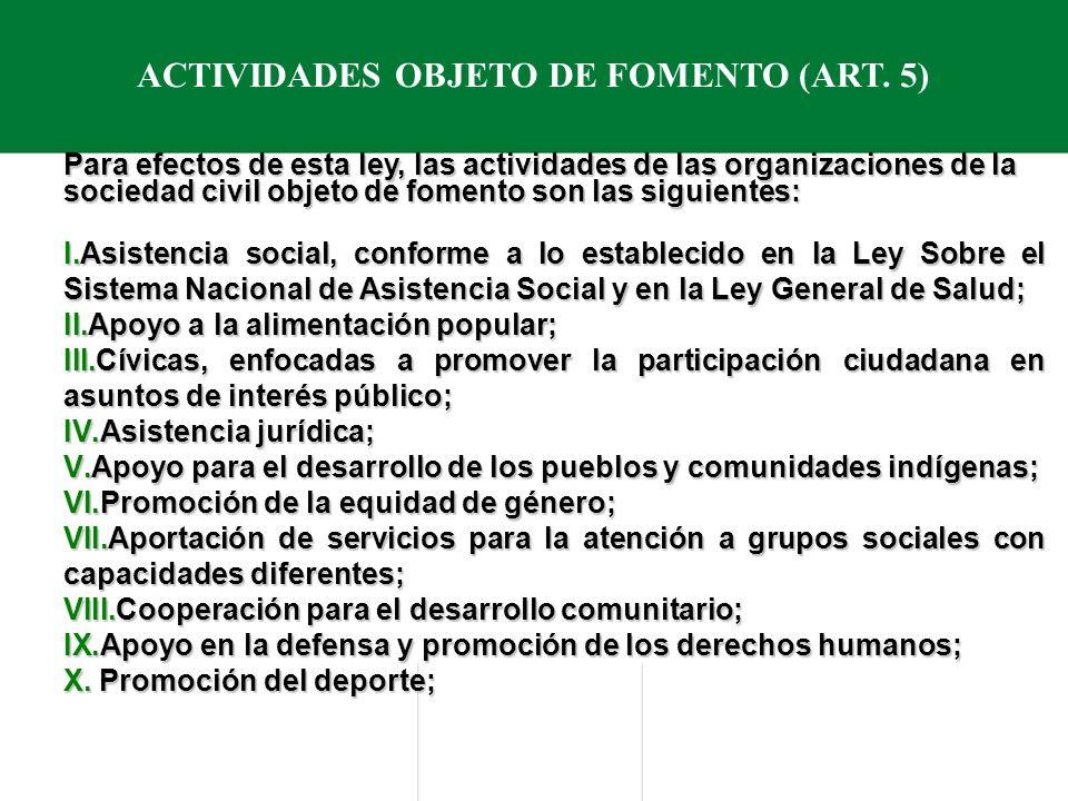 ACTIVIDADES OBJETO DE FOMENTO (ART.