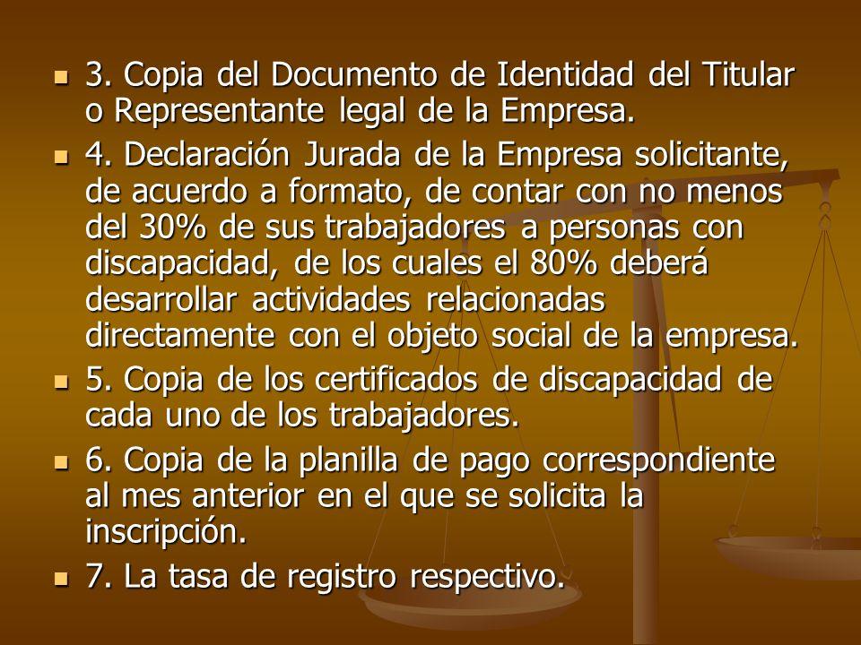 3. Copia del Documento de Identidad del Titular o Representante legal de la Empresa. 3. Copia del Documento de Identidad del Titular o Representante l