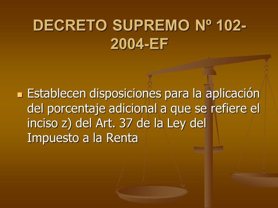 DECRETO SUPREMO Nº 102- 2004-EF Establecen disposiciones para la aplicación del porcentaje adicional a que se refiere el inciso z) del Art. 37 de la L