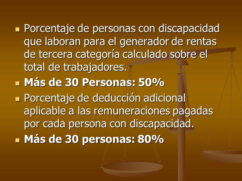 Porcentaje de personas con discapacidad que laboran para el generador de rentas de tercera categoría calculado sobre el total de trabajadores. Porcent