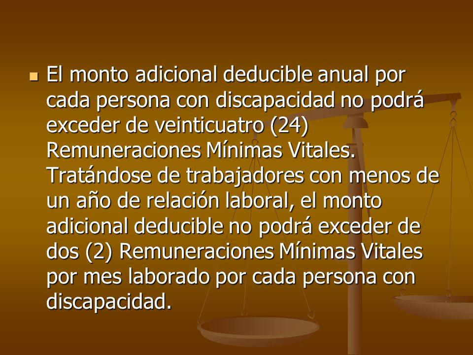 El monto adicional deducible anual por cada persona con discapacidad no podrá exceder de veinticuatro (24) Remuneraciones Mínimas Vitales. Tratándose