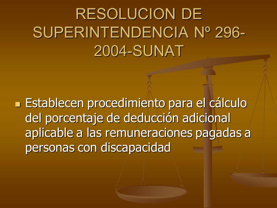 RESOLUCION DE SUPERINTENDENCIA Nº 296- 2004-SUNAT Establecen procedimiento para el cálculo del porcentaje de deducción adicional aplicable a las remun