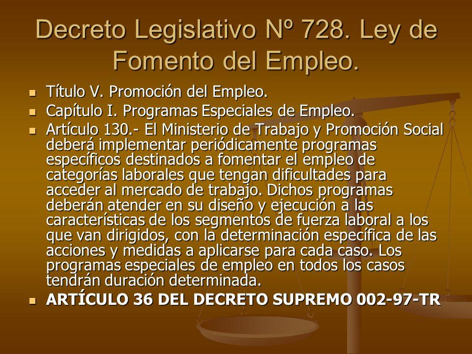 Decreto Legislativo Nº 728. Ley de Fomento del Empleo. Título V. Promoción del Empleo. Título V. Promoción del Empleo. Capítulo I. Programas Especiale