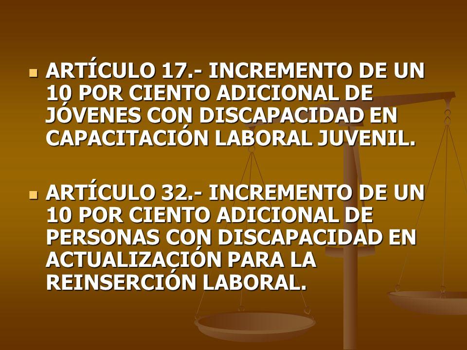 ARTÍCULO 17.- INCREMENTO DE UN 10 POR CIENTO ADICIONAL DE JÓVENES CON DISCAPACIDAD EN CAPACITACIÓN LABORAL JUVENIL. ARTÍCULO 17.- INCREMENTO DE UN 10