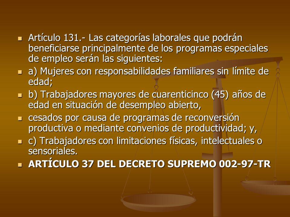 Artículo 131.- Las categorías laborales que podrán beneficiarse principalmente de los programas especiales de empleo serán las siguientes: Artículo 13